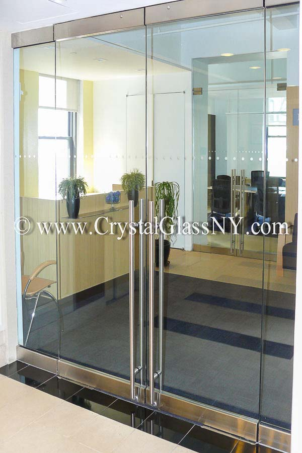 Herculite Double Doors With Sidelights Storefront